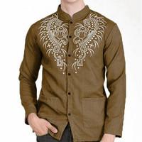 Baju koko lengan panjang Bordir casual trendy modern paling laris - Khaki