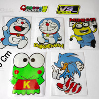 Sticker cutting motor mobil Kartun Doraemon keroppi minions sonic mura