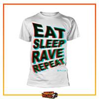Kaos Tshirt Hip Hop Band FATBOY SLIM White PHD Eat Sleep Rave Repeat - M