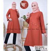 Baju Atasan Tunik Muslim Muslimah Wanita Busui Terbaru Pakaian Jumbo - L