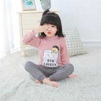 Baju setelan anak perempuan lovely bear umur 1 2 3 4 5 tahun thn th