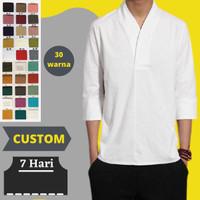 Custom Baju Kemeja Linen Shirt Pria S M L XL 2XL 3XL 4XL 5XL 6XL