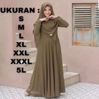 baju muslimah moscrepe mayra gamis set hijab size S M L 5L gamis jumbo
