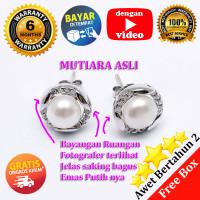 Anting Mutiara ASLI + Perak EMAS PUTIH ASLI - PEAR 033 (Garansi 6 bln)