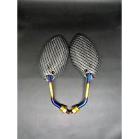 Spion karbon carbon model Honda Beat twotone Tangkai pendek