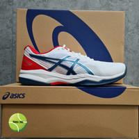 Sepatu Tenis Asics Gel Game 8 White / Mako Blue - 42.5