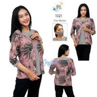1021 Blouse Batik Kawung Variasi Bolero Pink - Free Masker Senada - S