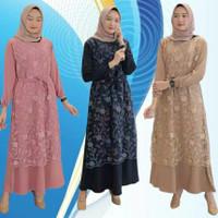 Baju Gamis Wanita Terbaru Laura Maxi Dress Gamis Brukat Termurah