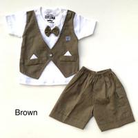 Baju setelan kaos rompi nyatu celana pergi jalan anak bayi cowok laki