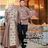 Couple Baju Pria Wanita Gamis Maxi Maxy Batik Pesta Pernikahan Set