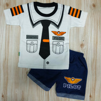 baju stelan bayi laki-laki usia 3-12 bulan//motif pilot//all size - All Size