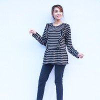 Justmom Nursingwear Baju hamil dan menyusui LICA - black stripe
