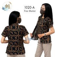 1020 Blouse Batik Mengapit Lurik - Free Masker, Blus Wanita Coklat - Lengan Pendek, S