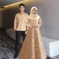 Baju Couple Gamis Brukat Jumbo Couple Pasangan Keluarga Pria Wanita
