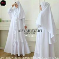 baju muslim white - gamis syari putih polos - gamis syari umroh