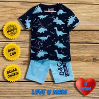 Loveumom Baju Setelan Anak Laki Laki Murah Dino Full Biru 1-10 Tahun