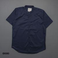 kemeja pria navy biru kerah shanghai koko + slimfit + baju kerja cowok