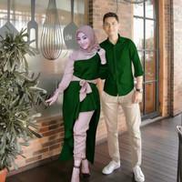 Baju Couple Gamis Wanita Kemeja pria Couple Bellaluna JSN - army