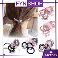 Fynshop ♛ AR01 Isi 8 in 1 Ikat Rambut Korea / Karet Rambut Import - Pink 12 pcs