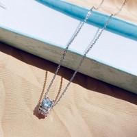 KALUNG WANITA KALUNG TITANIUM SILVER BIANCA ROOL DIAMOND SOLITAIRE