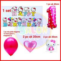 Paket Decor HAPPY BIRTHDAY HELLO KITTY / Dekorasi Ulang Tahun Hello Ki