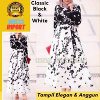 Baju Dress Wanita Gamis Maxi Import Bangkok Premium Monochrome