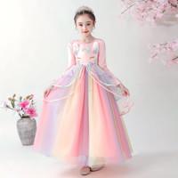 Baju pesta unicorn pink lengan panjang/unicorn dress/dress anak import