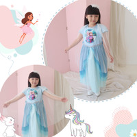 Gaun SNOWY FROZEN Size 3-4 Tahun / Ekspor Quality Premium Baju Dres