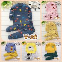 Setelan Piyama Baju Tidur Kaos Lengan Panjang Import Balita Anak Bayi