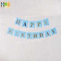 Banner Ulang Tahun / Bunting Flag Happy Birthday Tulisan Gold