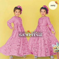Baju Maxi Dress Anak Perempuan Gaun Pesta Brukat 7-8 Tahun