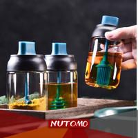 Tempat Bumbu Dapur Botol Kaca Tebal Toples Garam Gula Madu Kuas Minyak