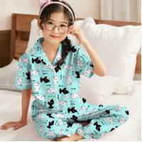 Baju Tidur Piyama Anak Perempuan 3-10 tahun/ Motip Terbaru BTS 21 - cat tosca, S ( 3-4 tahun)