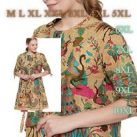 PROMO Atasan Tunik Batik Dress Wanita Kekinian XXXL Jumbo - Big Size