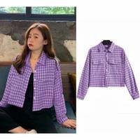 Baju Kemeja Nesya Wanita Kotak Kotak Korean Style Lengan Panjang