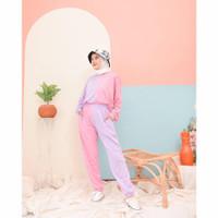 Setelan wanita cewek panjang / Oneset 2colour / Setelan baju olahraga