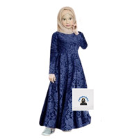 Gamis Syari Dress Anak Perempuan -Leza Kid-Motif Brukat usia 3 -13 thn