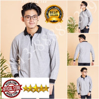 Kaos Polo Shirt Polos Kerah Abu Lengan Panjang/Kaos Kerah Panjang