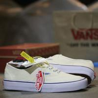 Sepatu Vans Authentic Classi Sneaker Pria Import Quality Termurah - Cream Putih, 37