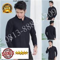 Kaos Polo Shirt Polos Kerah Hitam Lengan Panjang/Kaos Kerah Panjang