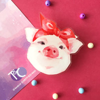 Popsocket / Phone Accessories - Pig with Ribbon