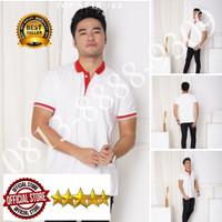 Kaos Polo Shirt Polos Putih kerah merah/kaos kerah pria/baju kerah