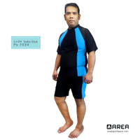 Baju renang pria/wanita dewasa setelan unisex jumbo - Biru baby, XXL