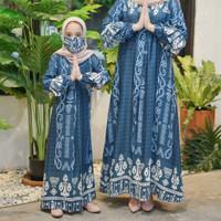 Gamis anak Azka maxi motif/fashion muslim anak terbaru - Biru, 6-7 tahun
