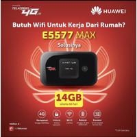 Modem MiFi WiFi Router 4G Huawei E5577 MAX FREE Telkomsel 14GB 2 bulan