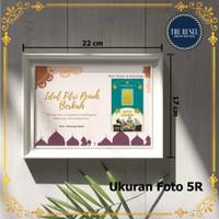 Bingkai 5R Hadiah Logam Mulia Emas Mini - Custom Kalimat Ucapan & Foto