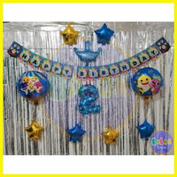 Paket Dekorasi Ulang Tahun Simple Tema BABY SHARK / Tanpa Tirai / Pak