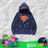 BAPE X DC SUPERMAN COLOR CAMO PULLOVER HOODIE NAVY