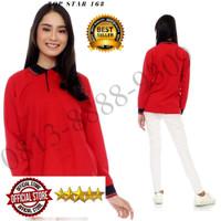 Kaos polos polo shirt wanita kerah lengan panjang Merah Kerah Hitam