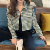Kemeja Lengan Panjang Model Crop Top Motif Kotak-Kotak untuk Wanita